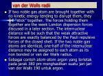 van der walls radii