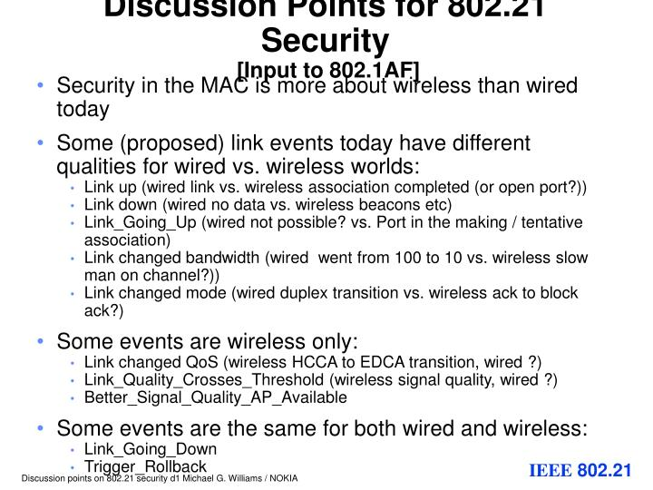 discussion points for 802 21 security input to 802 1af
