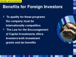 benefits for foreign investors