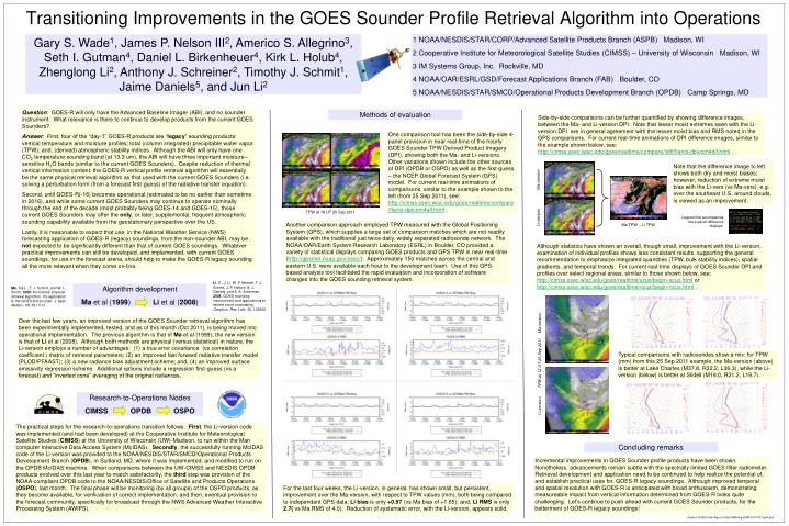 transitioning improvements in the goes sounder profile retrieval algorithm into operations n.