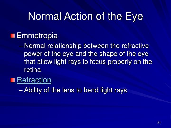 Normal Action of the Eye