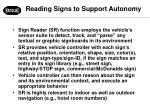 reading signs to support autonomy