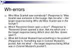 wh errors