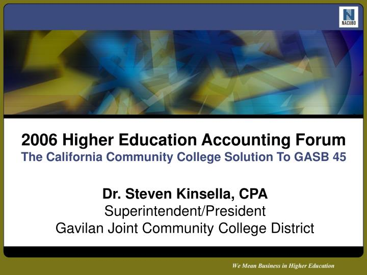 2006 higher education accounting forum the california community college solution to gasb 45 n.