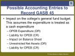 possible accounting entries to record gasb 45