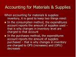 accounting for materials supplies