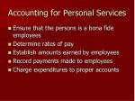 accounting for personal services