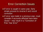 error correction issues
