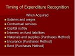 timing of expenditure recognition