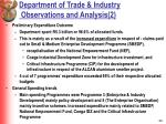department of trade industry observations and analysis 2