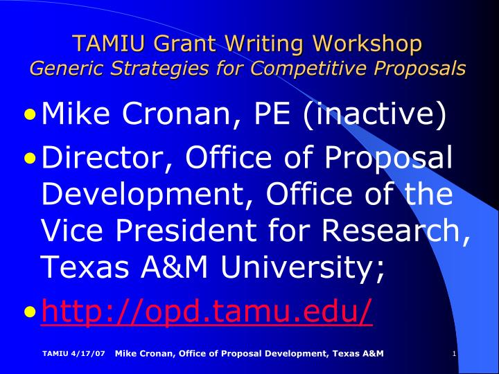 tamiu grant writing workshop generic strategies for competitive proposals n.