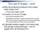 the law of supply cond