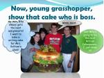 now young grasshopper show that cake who is boss