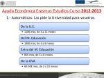 ayuda econ mica erasmus estudios curso 2012 2013
