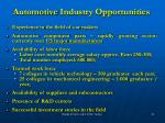 automotive industry opportunities
