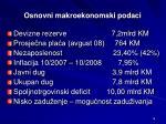 osnovni makroekonomski podaci