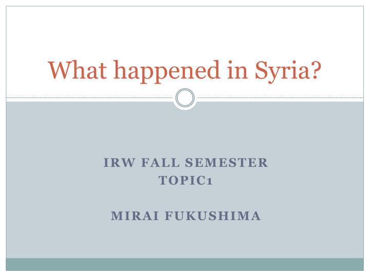 what happened in syria n.