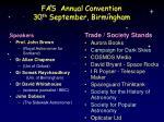 fas annual convention 30 th september birmingham