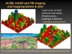alsm insar and tm imaging and mapping before after