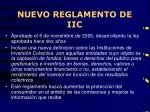 nuevo reglamento de iic
