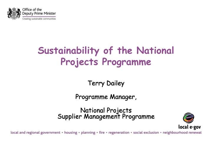 sustainability of the national projects programme n.