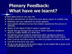 plenary feedback what have we learnt