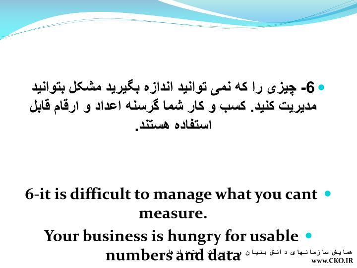 6- چیزی را که نمی توانید اندازه بگیرید مشکل بتوانید مدیریت کنید. کسب و کار شما گرسنه اعداد و ارقام قابل استفاده هستند.