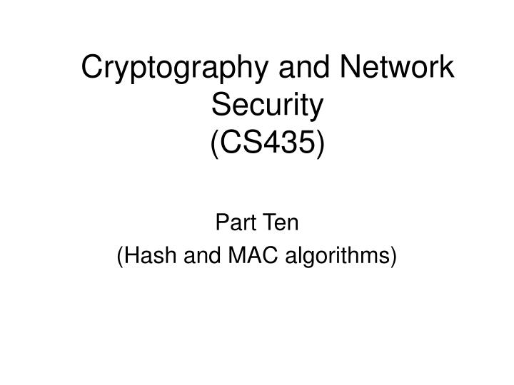 cryptography and network security cs435 n.