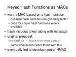 keyed hash functions as macs