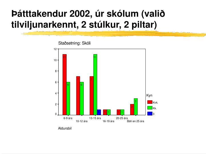 Þátttakendur 2002, úr skólum (valið tilviljunarkennt, 2 stúlkur, 2 piltar)