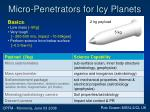 micro penetrators for icy planets