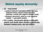 biblick aspekty ekonomiky