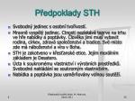 p edpoklady sth