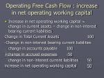 operating free cash flow increase in net operating working capital