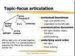 topic focus articulation