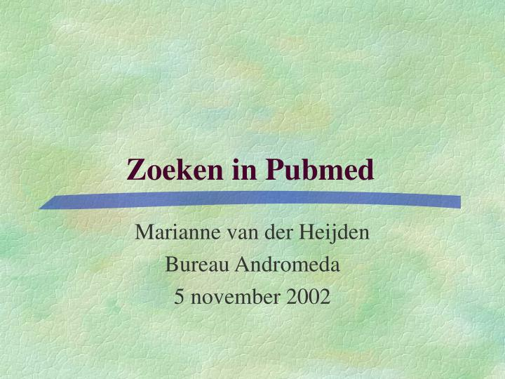zoeken in pubmed n.