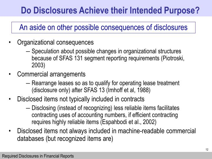 Do Disclosures Achieve their Intended Purpose?