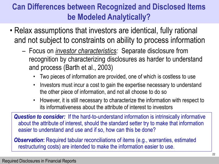 Can Differences between Recognized and Disclosed Items be Modeled Analytically?