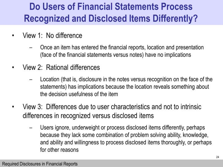 Do Users of Financial Statements Process Recognized and Disclosed Items Differently?