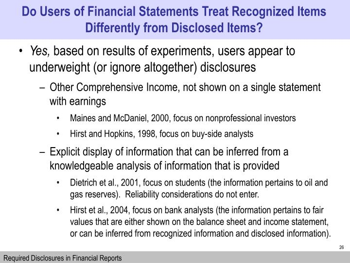 Do Users of Financial Statements Treat Recognized Items Differently from Disclosed Items?