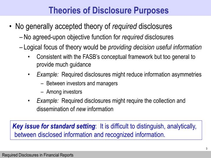 Theories of Disclosure Purposes
