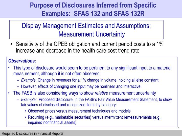 Purpose of Disclosures Inferred from Specific Examples:  SFAS 132 and SFAS 132R