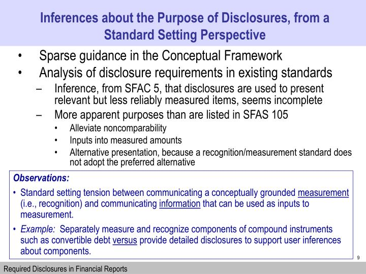 Inferences about the Purpose of Disclosures, from a Standard Setting Perspective