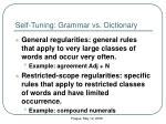 self t uning grammar vs dictionary