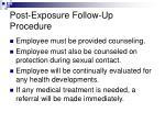 post exposure follow up procedure