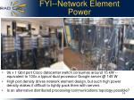 fyi network element power