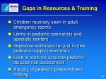 gaps in resources training