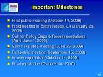 important milestones