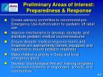 preliminary areas of interest preparedness response