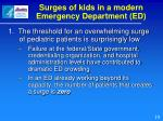 surges of kids in a modern emergency department ed